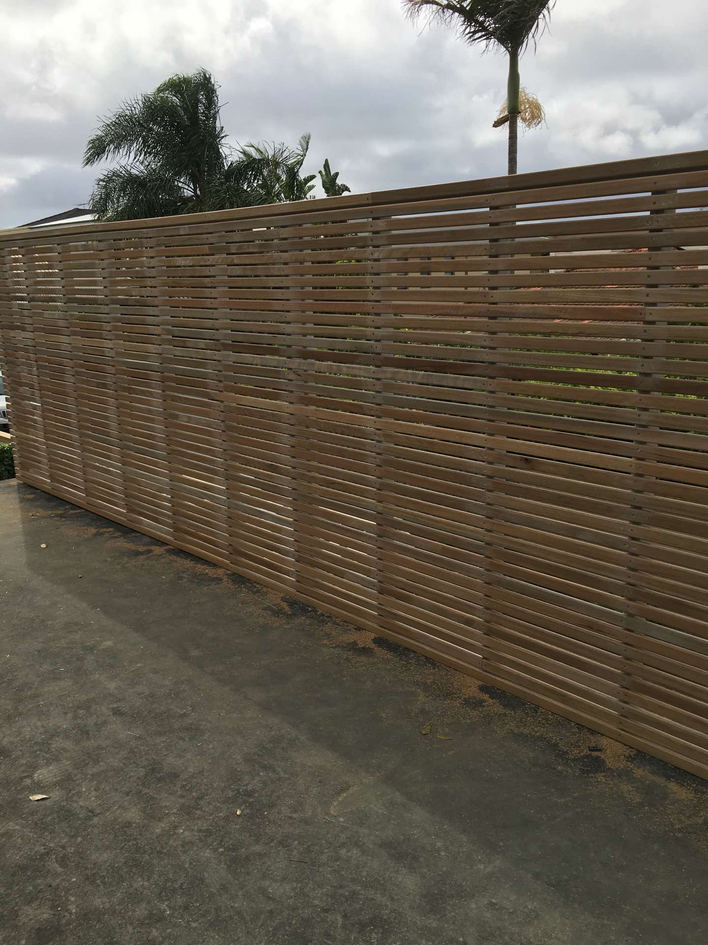 42 x 18 Spotted Gum privacy screen on top of garage roof. Mosman, NSW