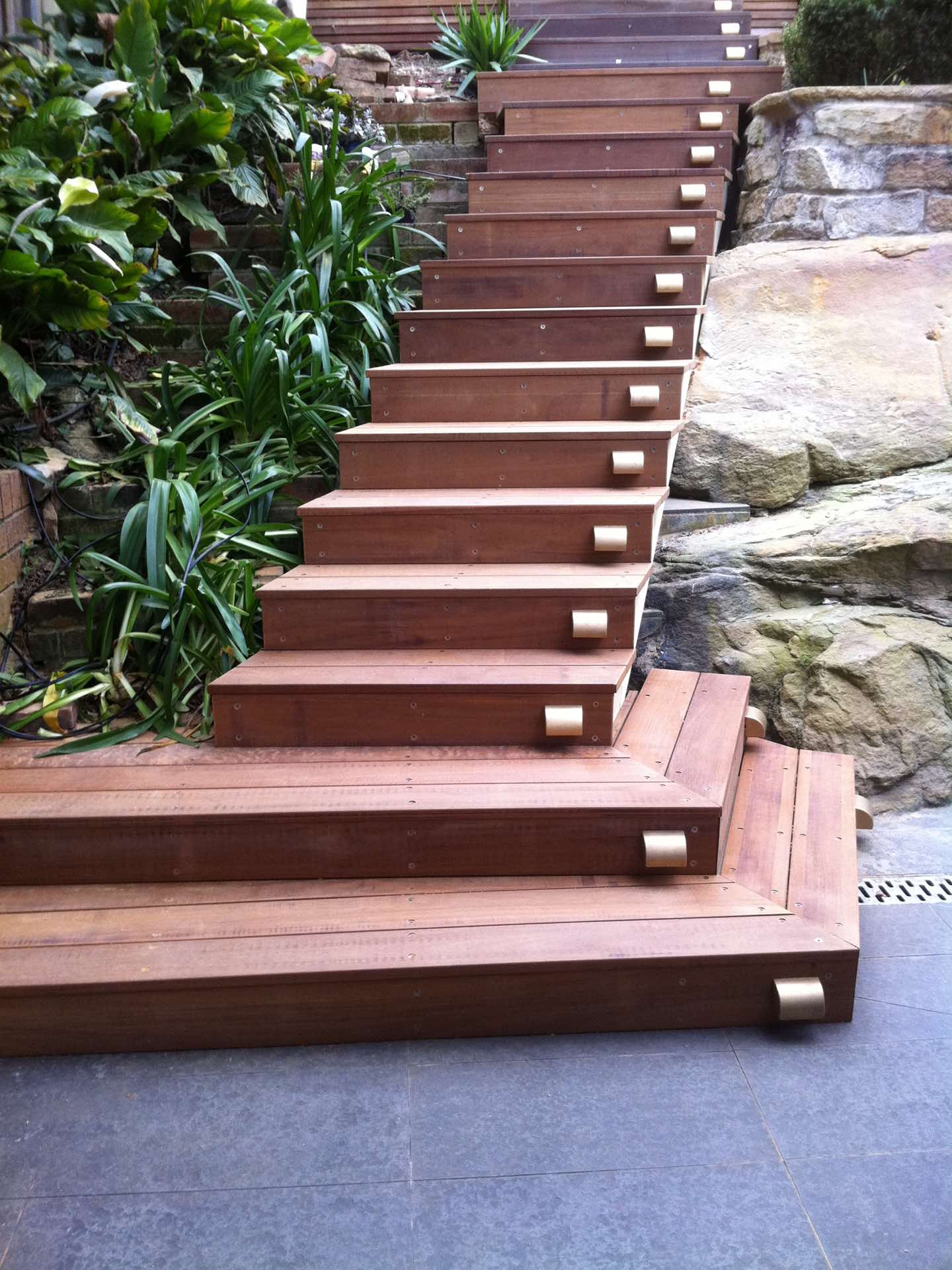 New scissor stringer stairs over old tiled stairs that were just too high and steep to walk up and down for the new owners Neutral Bay, NSW