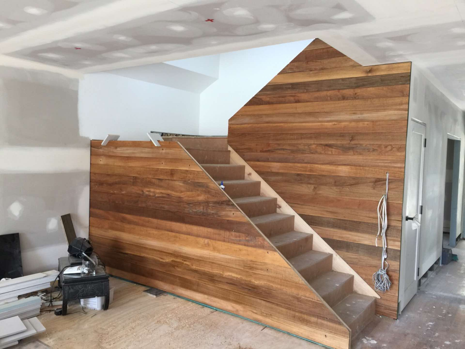 Progress. Teak lining boards to stair spandrel. Ready for glass handrail. North Curl Curl, NSW