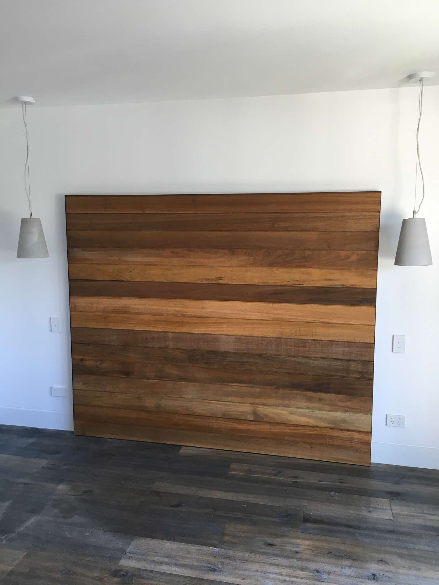 Teak bed head with black aluminum angle surround   North Curl Curl, NSW