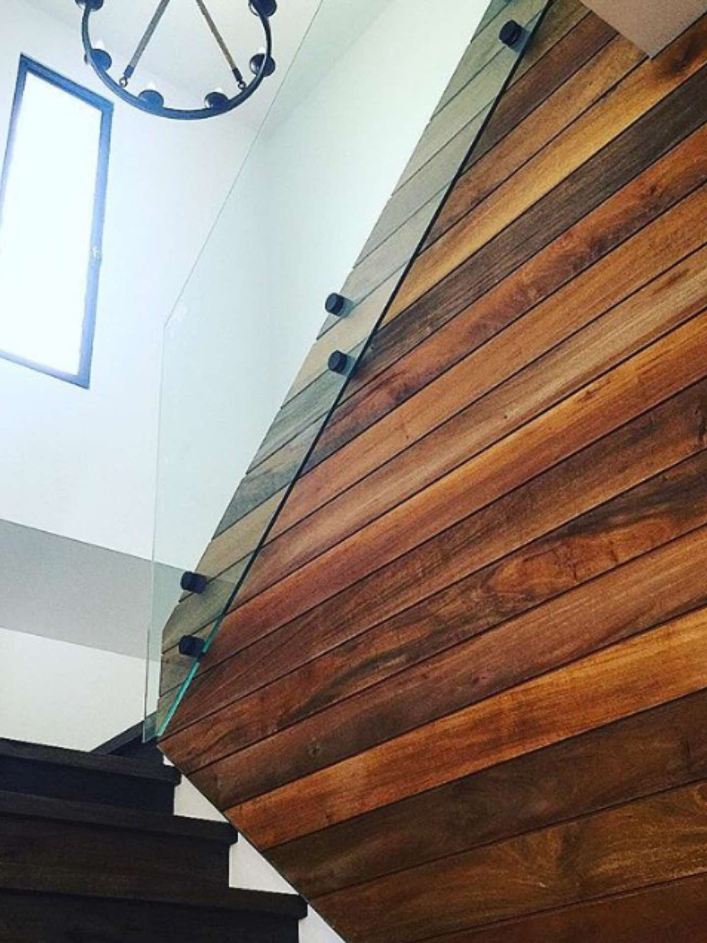 Teak feature wall in stair well North Curl Curl, NSW