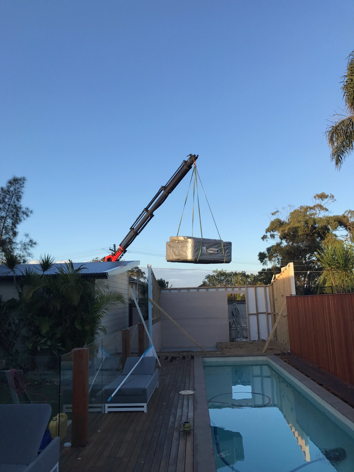 A bit of progress. Pool cabana with the works. Spa, tv. Speakers, heater, fridge, seating and lights  Seaforth, NSW