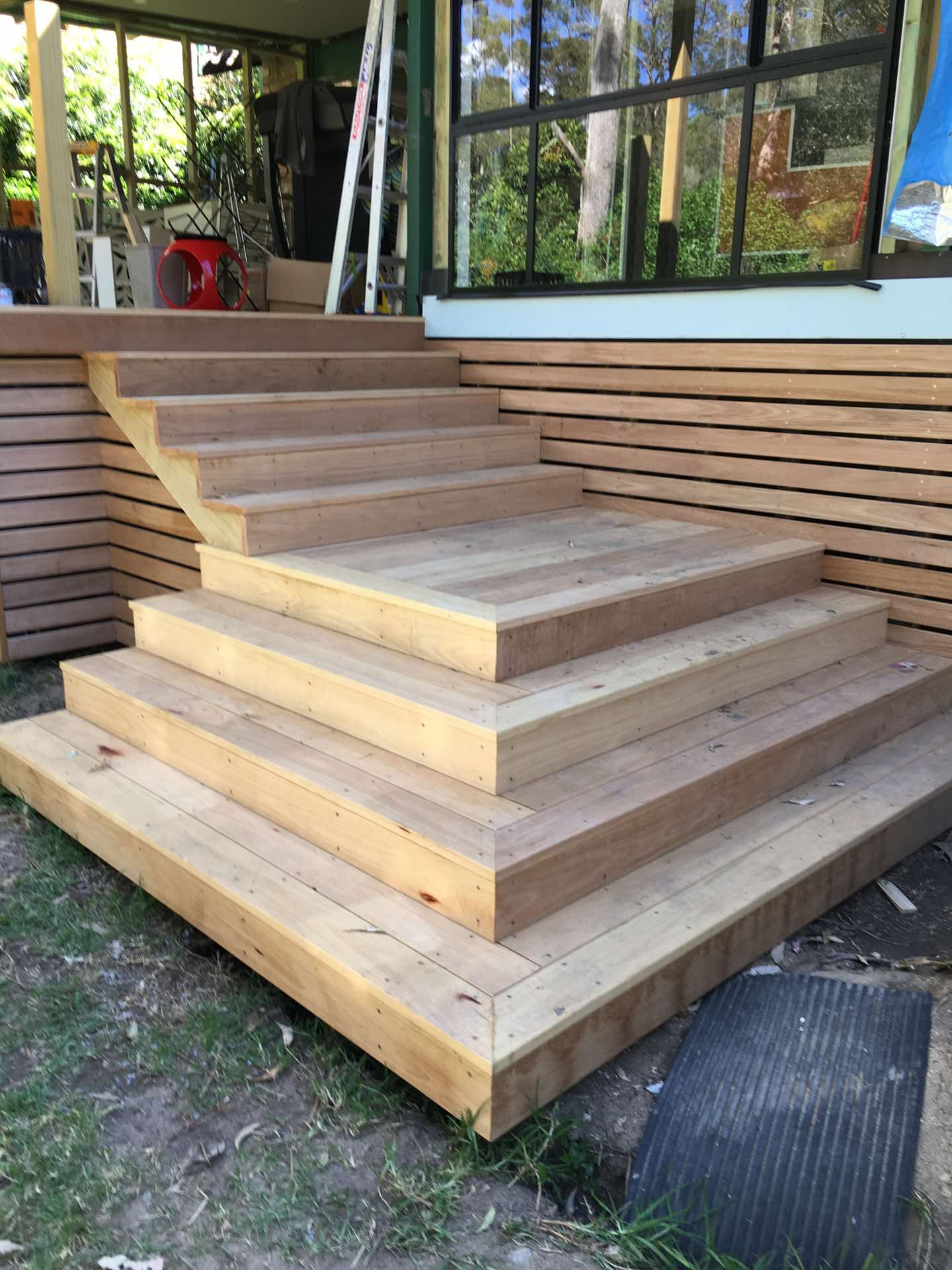 Stairs and screening finished and ready for sanding and staining St Ives Chase, NSW