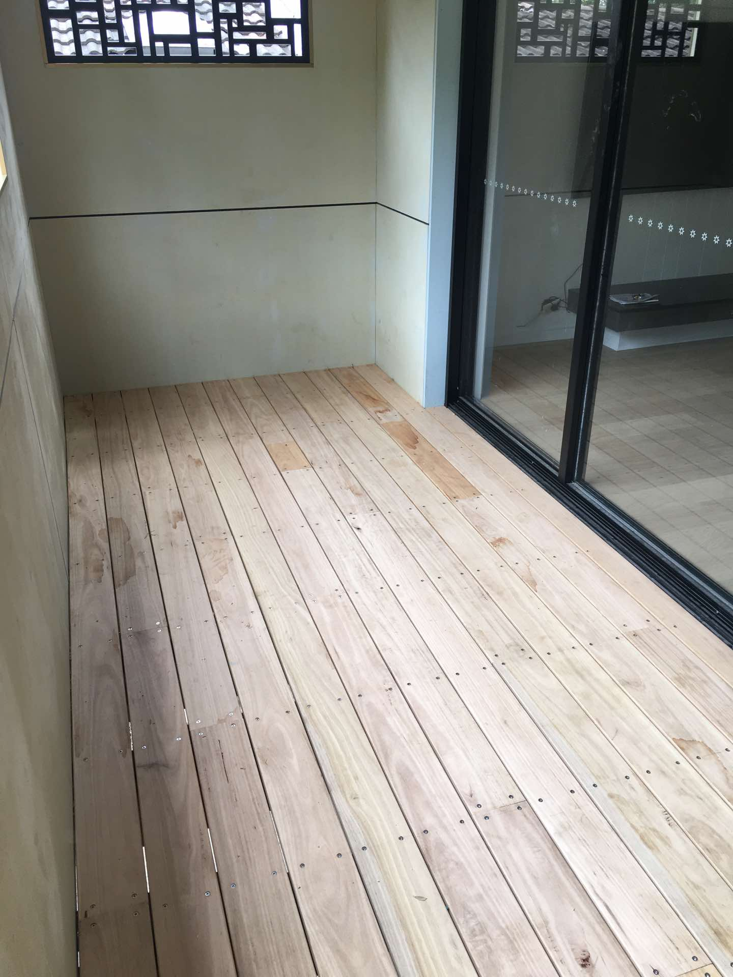 135 x 25 blackbutt decking ready for sanding and oiling St Ives Chase, NSW