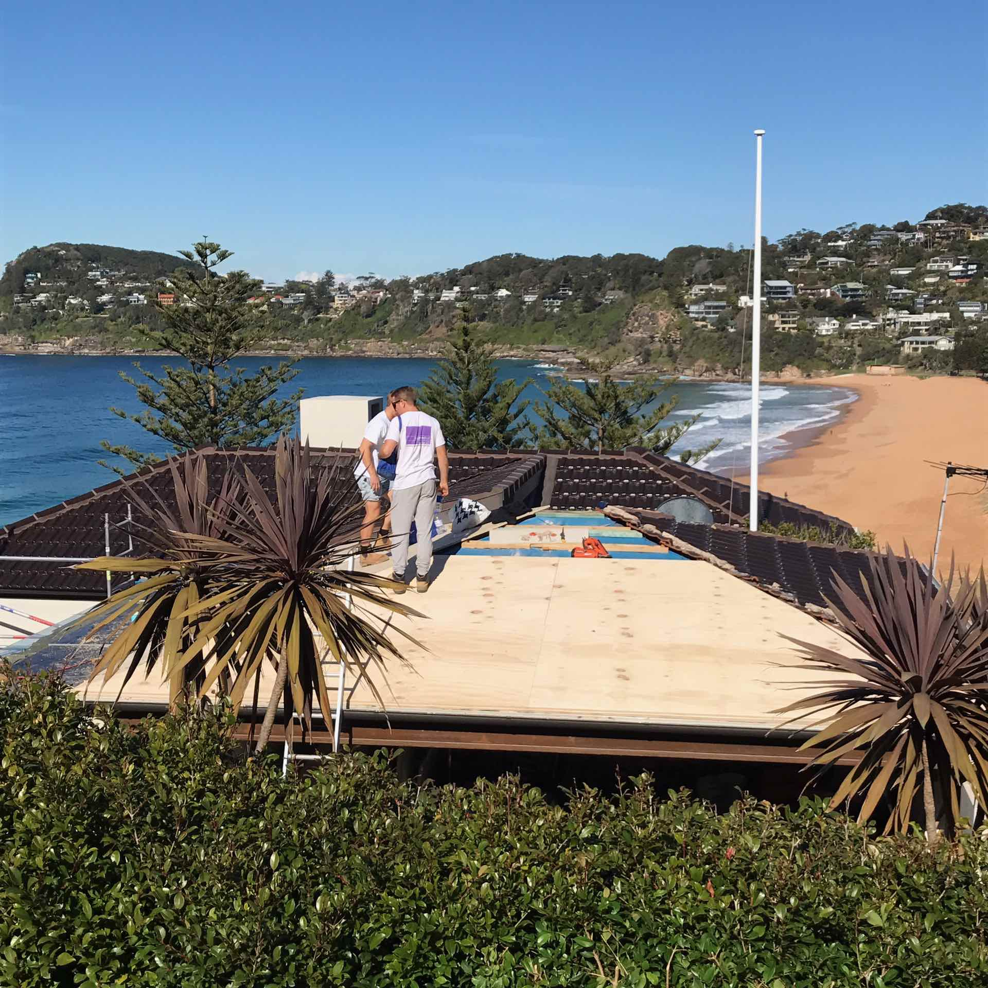 Whale beach re roof.  Off with the terra cotta and on with copper.  Whale Beach, NSW