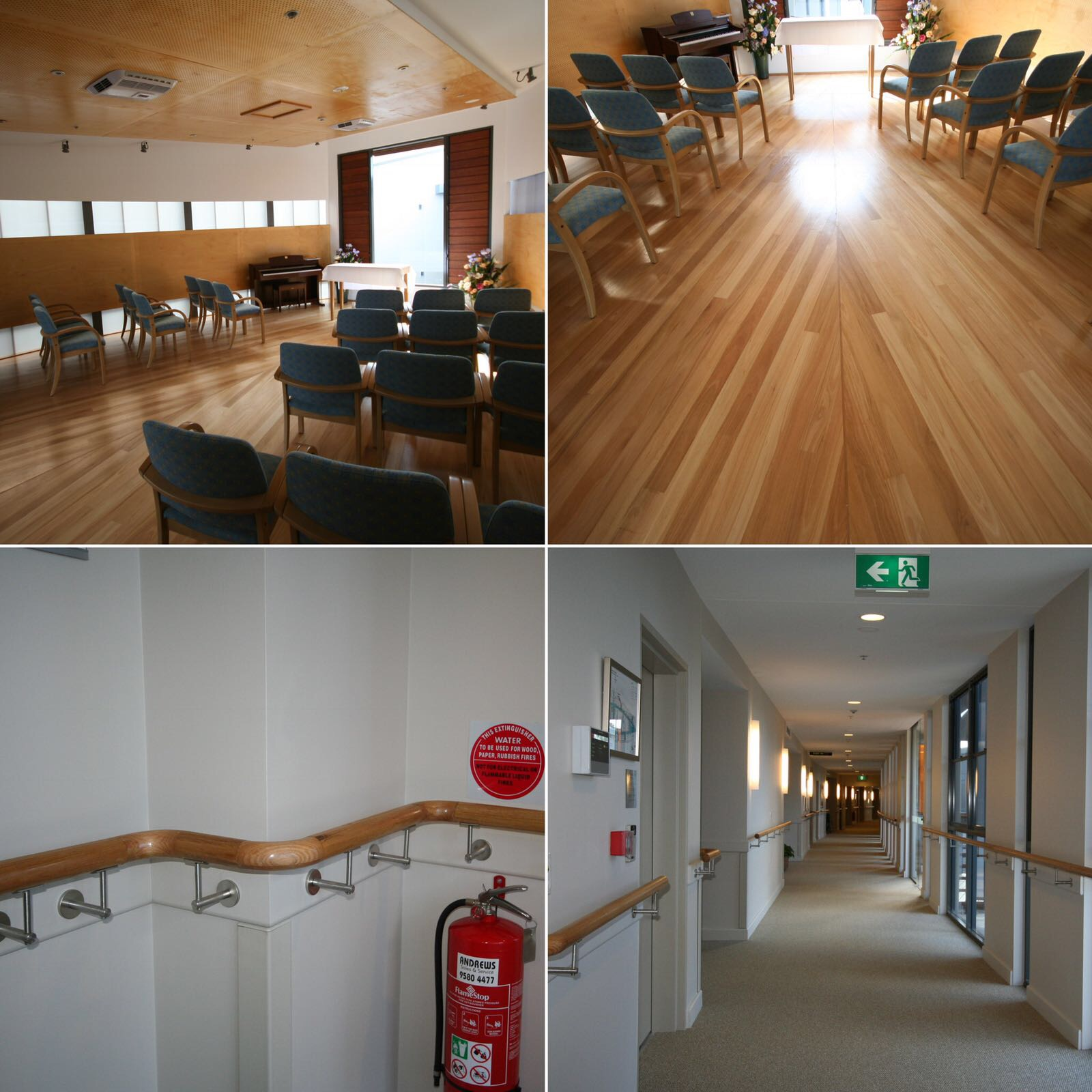 Hardwood floor, hardwood handrails & decorative soffit and wall linings with perforated timber panels  Camden, NSW