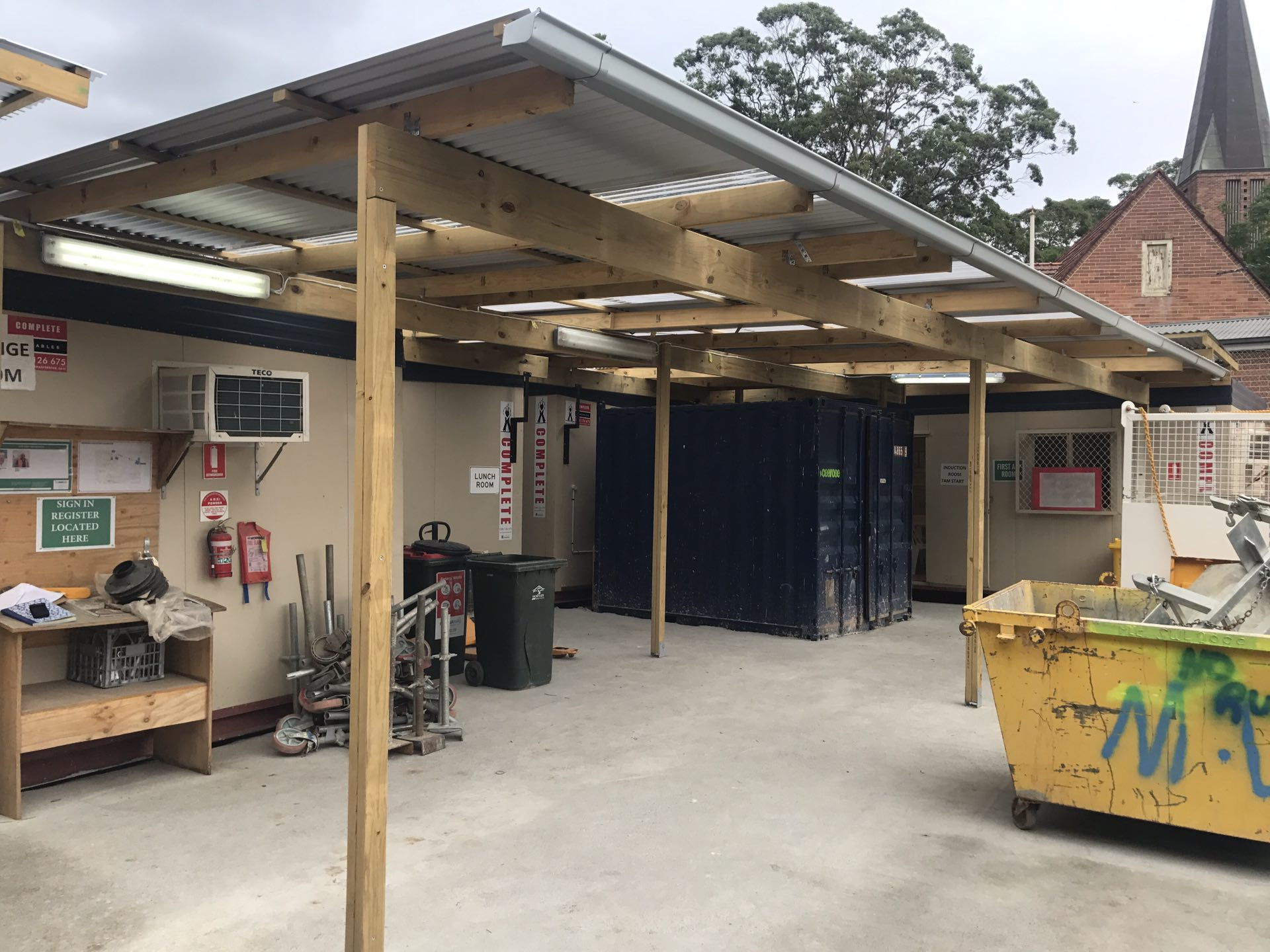 Site set up - temp awnings and decks  Epping, NSW