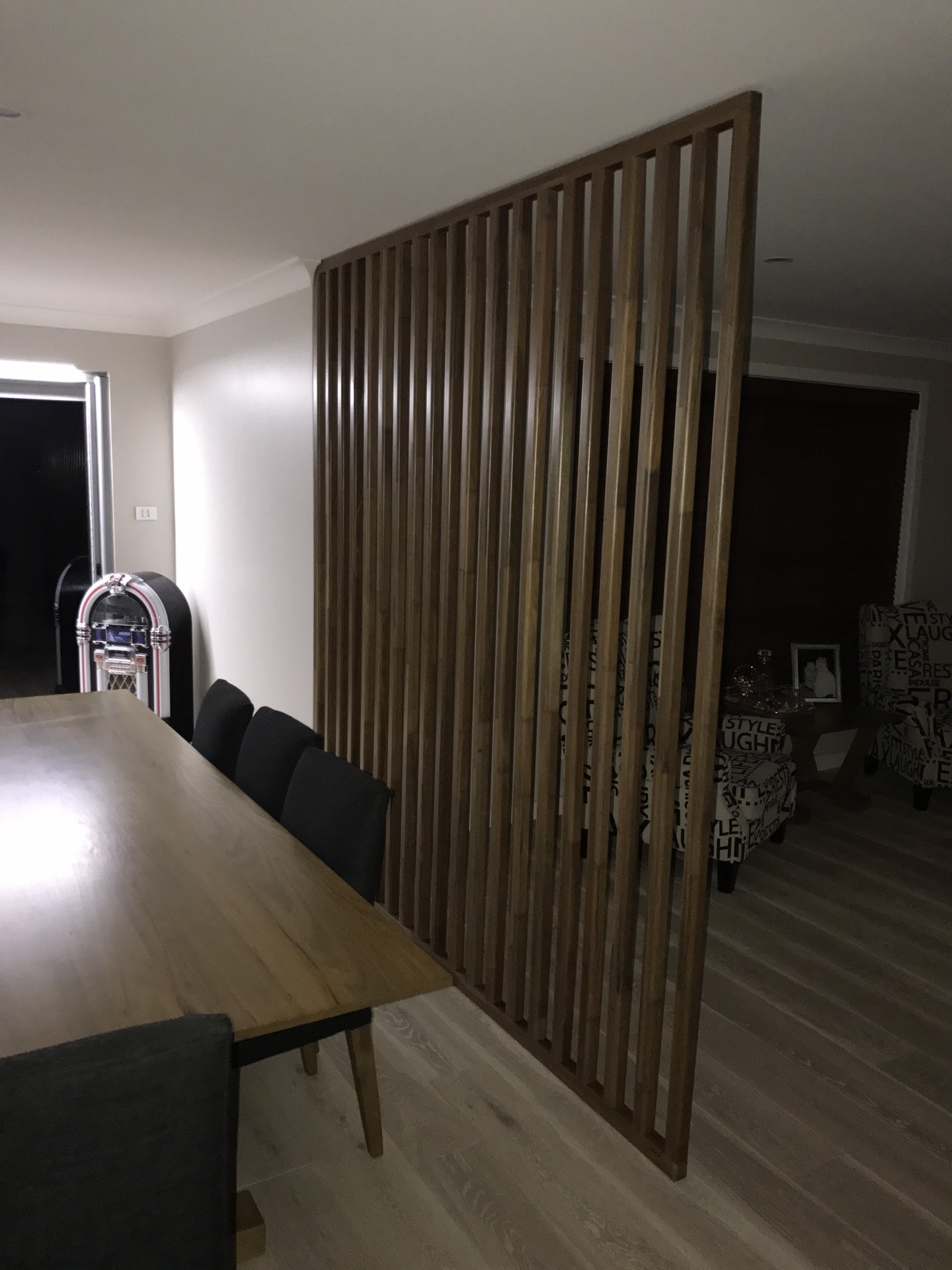 Hardwood feature screen produced from raw door jamb material  Silverdale, NSW