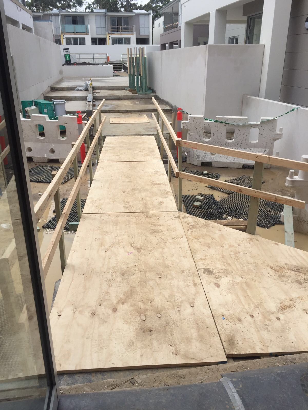 Site setup works - builder had budget issues so we recycled there pallets and ply to create ramps, decks and stairs  Terrey Hills, NSW