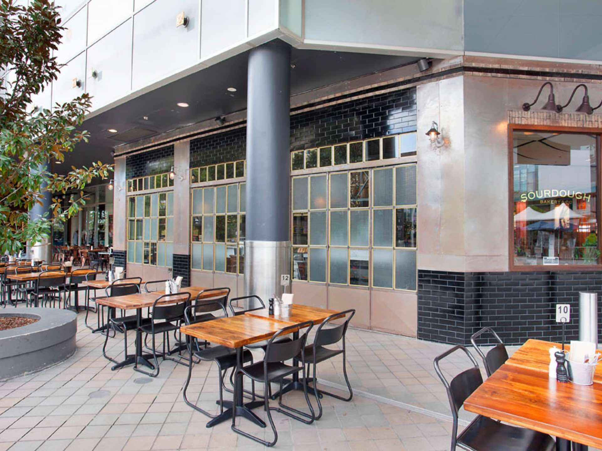 Restaurant Fitout situated at Westfield Hornsby with full commercial kitchen, cool room, prep area and great use of steel for cladding, bi-fold doors and gantry. Hornsby, NSW