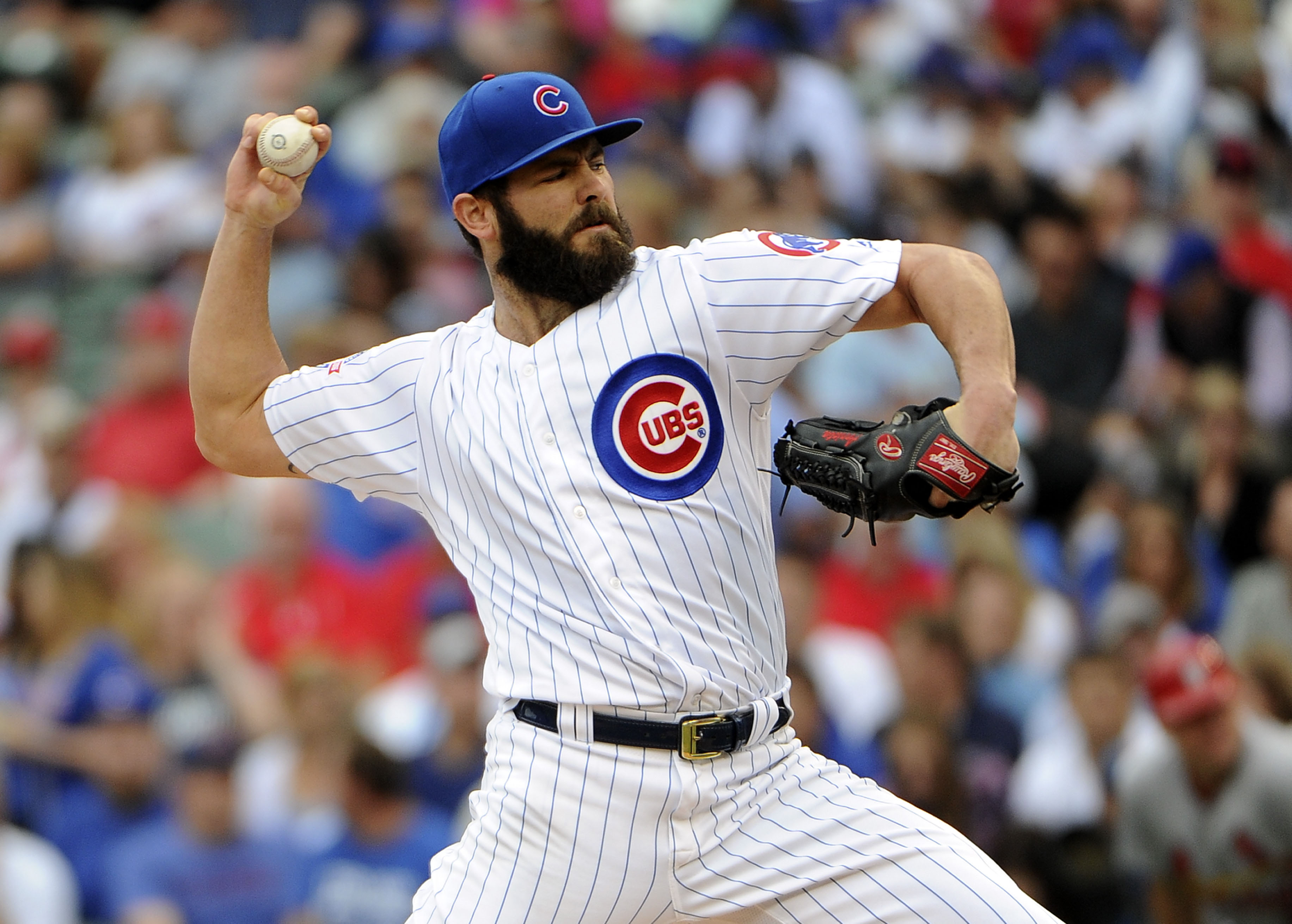 Sep 23, 2016; Chicago, IL, USA;  Chicago Cubs starting pitcher Jake Arrieta (49) throws against the St. Louis Cardinals during the first inning at Wrigley Field. Mandatory Credit: David Banks-USA TODAY Sports