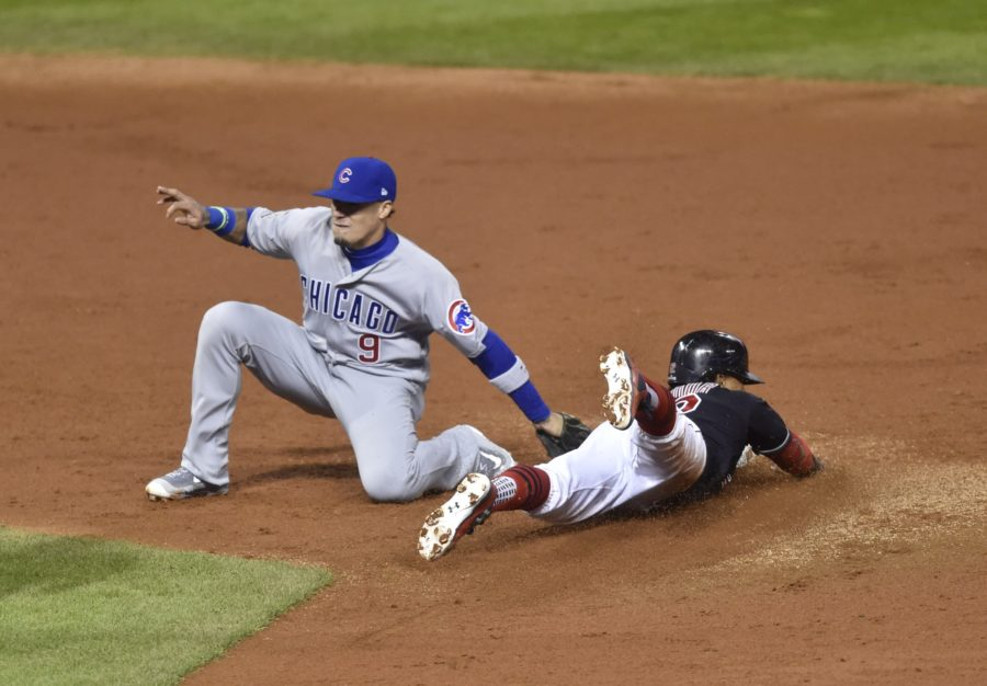 Javy Baez put in an average performance at the plate, but his defense shined again with a close tag on Francisco Lindor that the Indians declined to challenge. (David Richard/USA TODAY Sports)