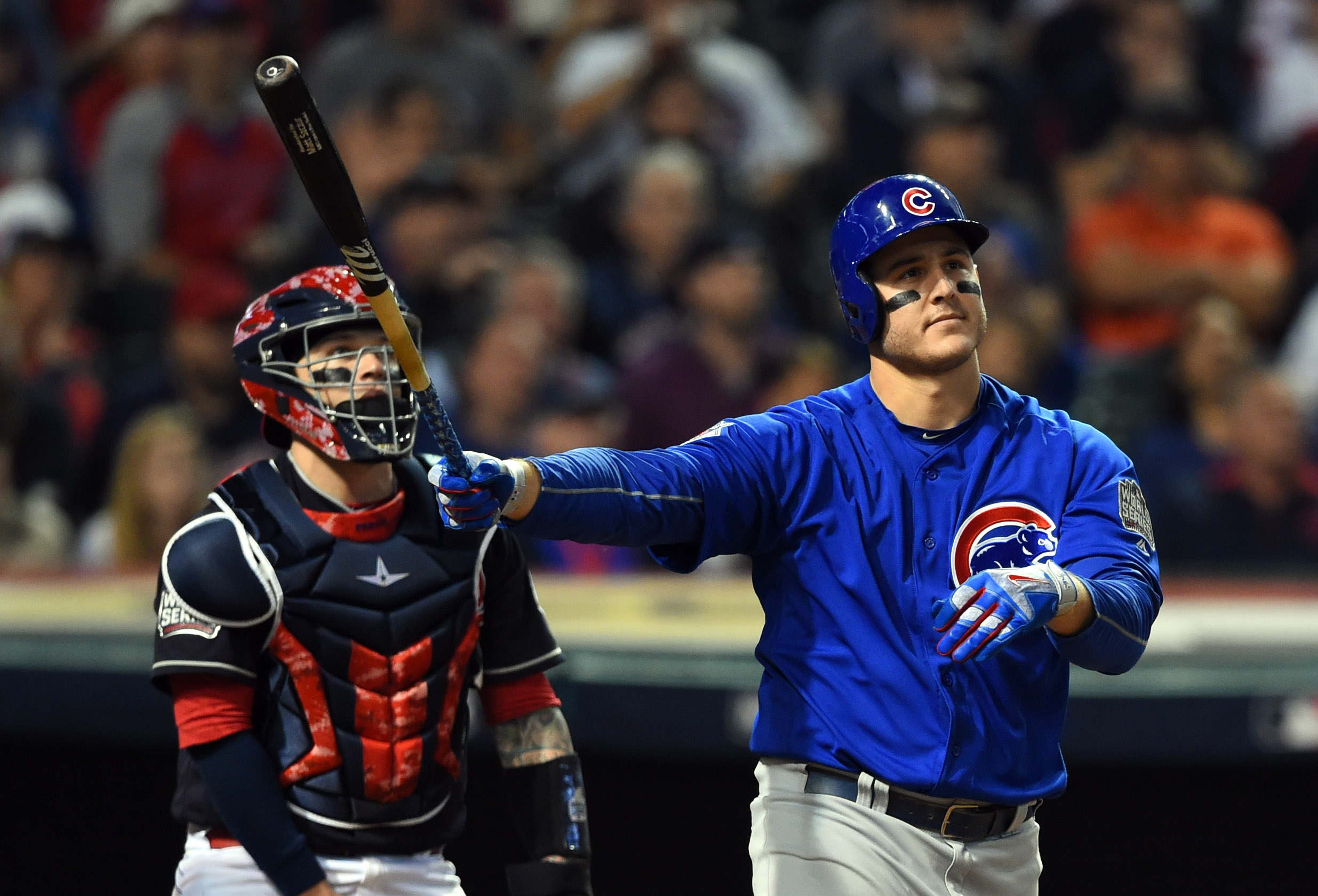 If the Cubs are as calm in Game 7 as Anthony Rizzo is hitting a two-run home run, they should be OK. (Tommy Gilligan/USA TODAY Sports)