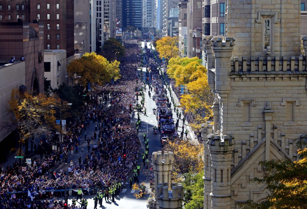 A general view as the Chicago Cubs make their way along Michigan Avenue during the World Series victory parade. Mandatory Credit: Jerry Lai-USA TODAY Sports