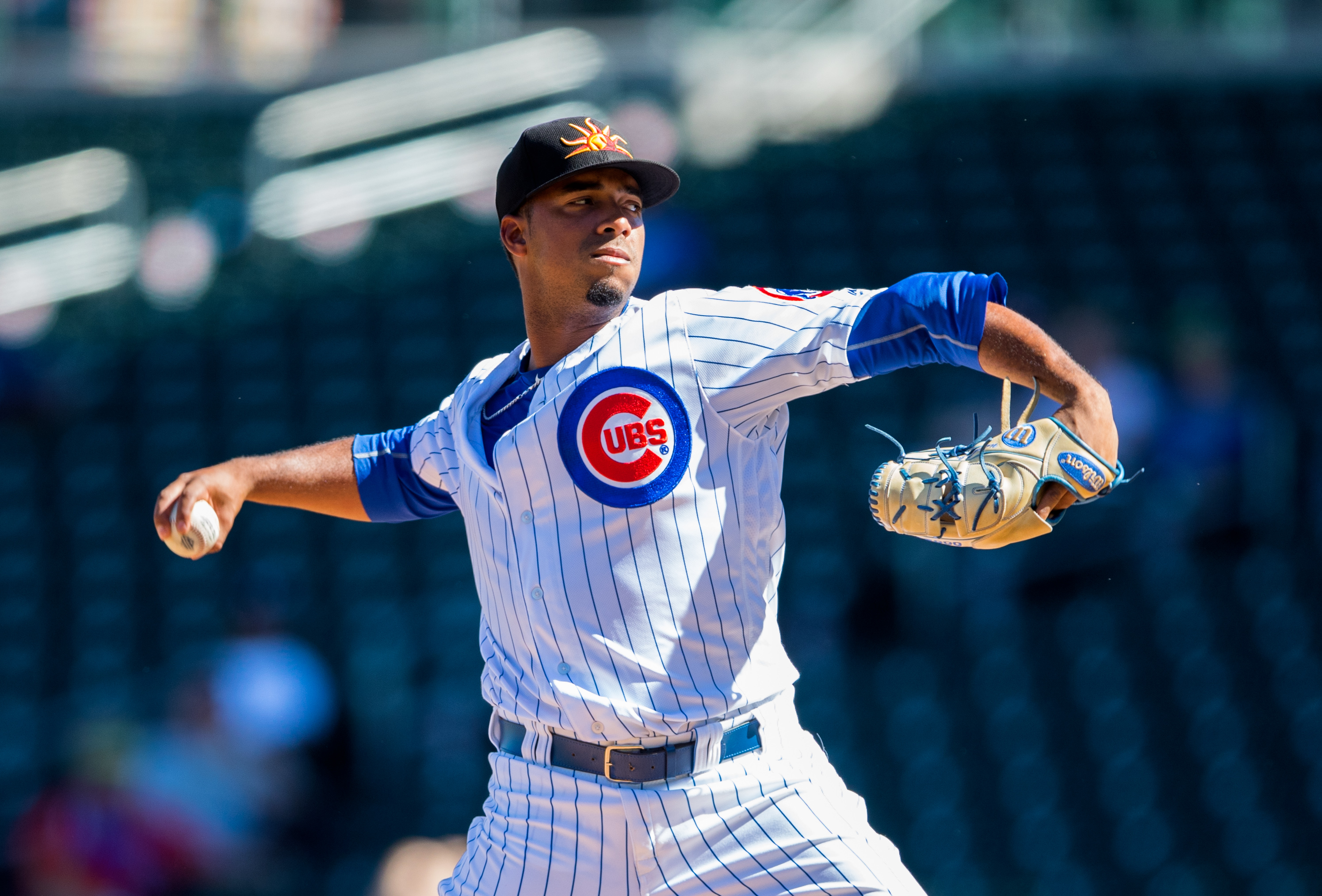 Oct 18, 2016; Mesa, AZ, USA; Mesa Solar Sox pitcher Duane Underwood Jr of the Chicago Cubs against the Scottsdale Scorpions during an Arizona Fall League game at Sloan Field. Mandatory Credit: Mark J. Rebilas-USA TODAY Sports