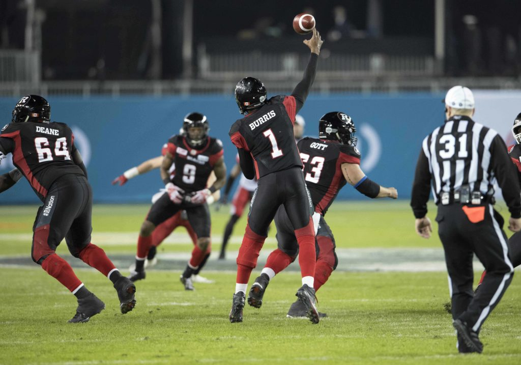 Ottawa Redblacks quarterback Henry Burris (1) throws a pass during the second quarter in the 104th Grey Cup game against the Calgary Stampeders at BMO Field. Nick Turchiaro-USA TODAY Sports