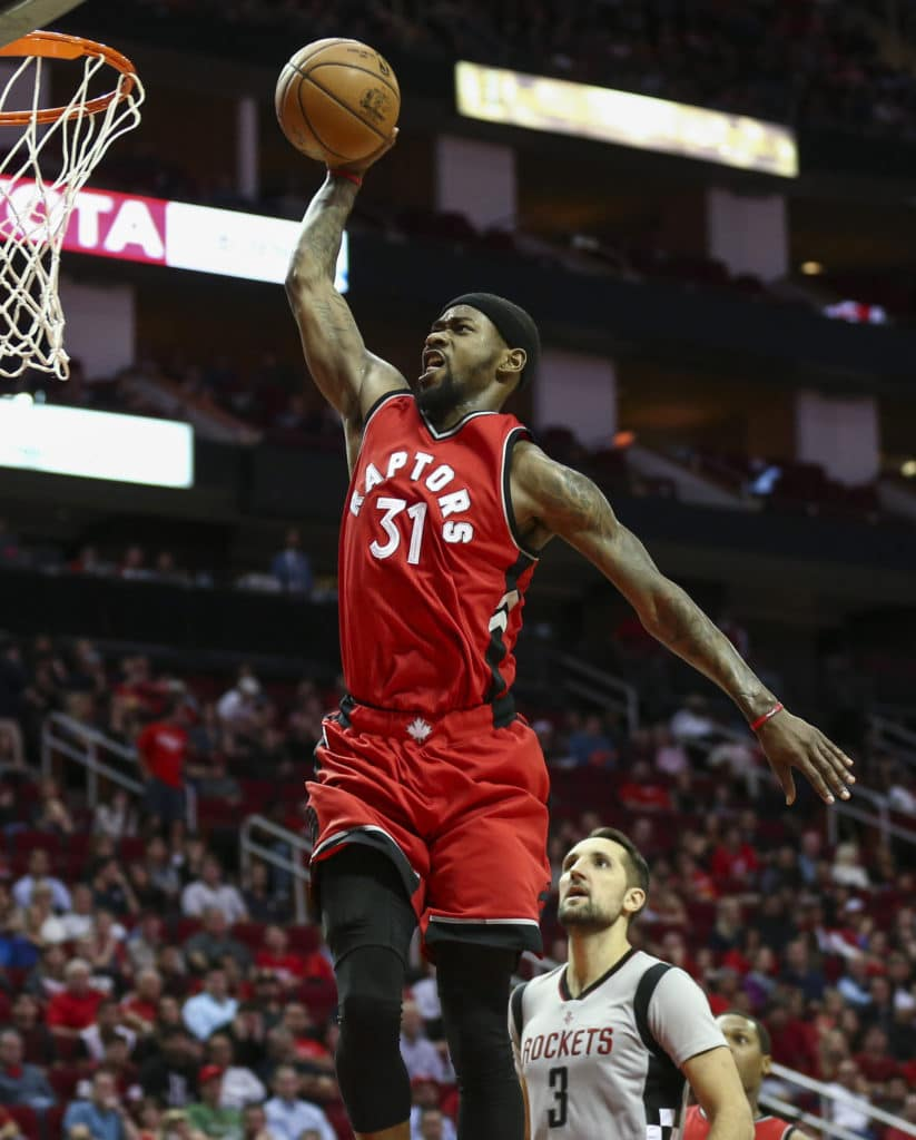 Nov 23, 2016; Houston, TX, USA; Toronto Raptors forward Terrence Ross (31) dunks the ball during the fourth quarter against the Houston Rockets at Toyota Center. Mandatory Credit: Troy Taormina-USA TODAY Sports
