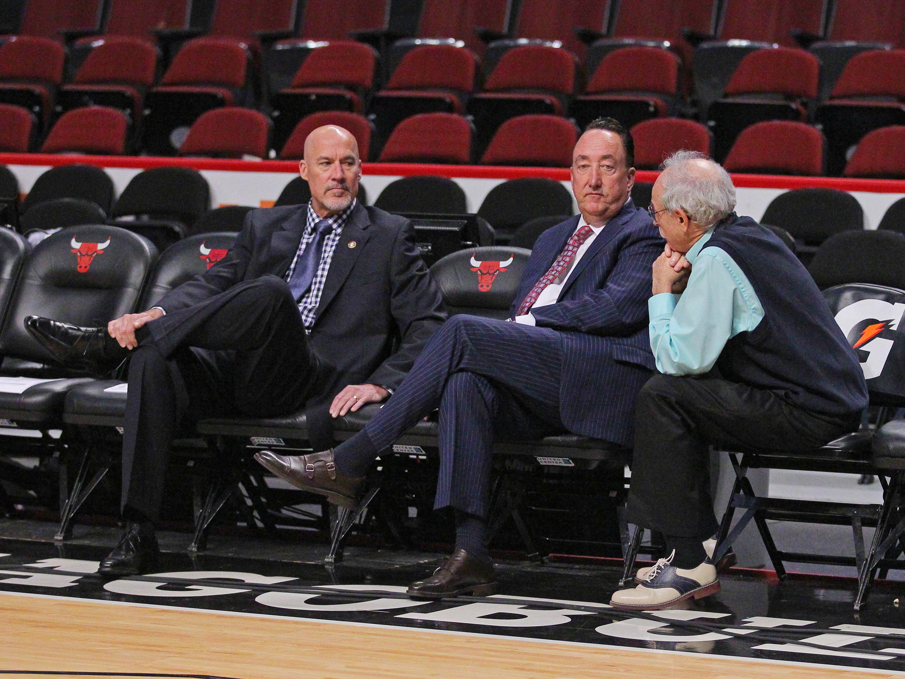 Bulls vice president of basketball perations John Paxson and general manager Gar Forman have kept their cards close to the vest when it comes to their plan for the organization's future. (Dennis Wierzbicki/USA TODAY Sports)