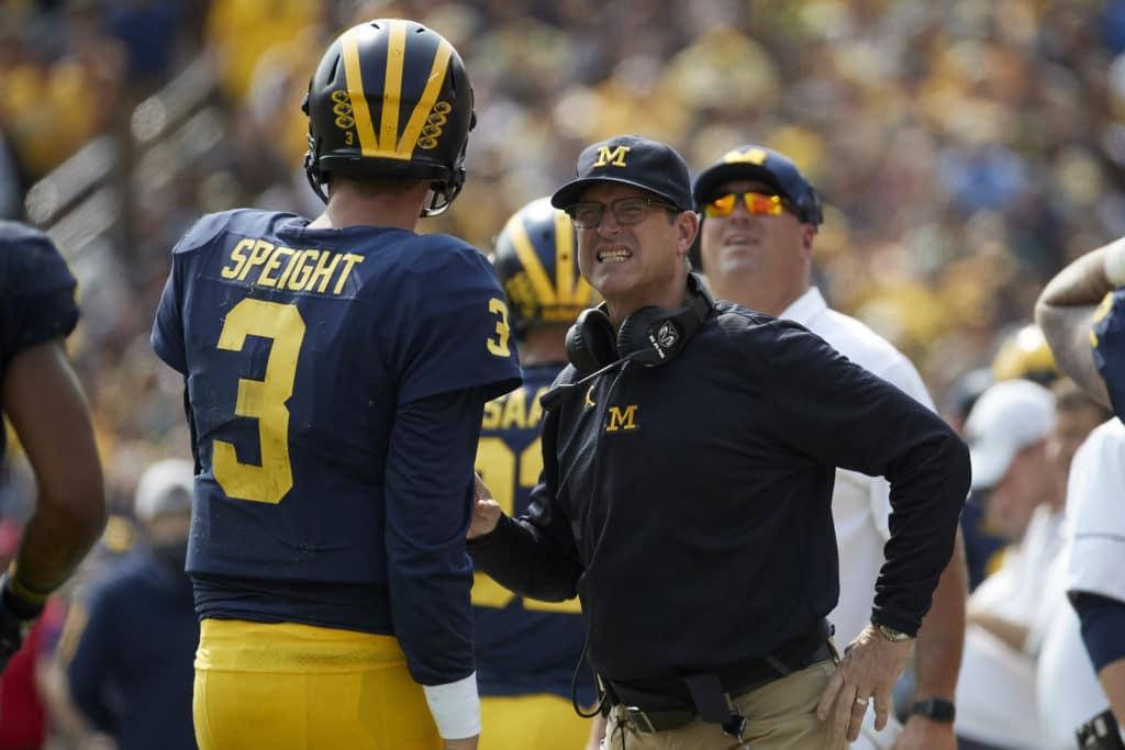 Michigan QB Wilton Speight leaves Purdue game with injury