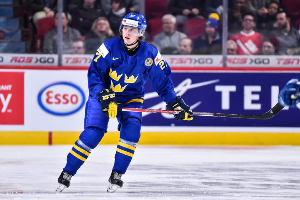 MONTREAL, QC - DECEMBER 29:  Jonathan Dahlen #27 of Team Sweden skates during the 2017 IIHF World Junior Championship preliminary round game against Team Finland at the Bell Centre on December 29, 2016 in Montreal, Quebec, Canada.  Team Sweden defeated Team Finland 3-1.  (Photo by Minas Panagiotakis/Getty Images)