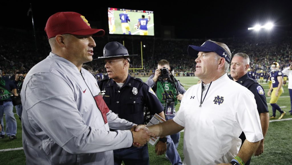 Notre Dame jumps into AP poll's top 10 after thrashing USC