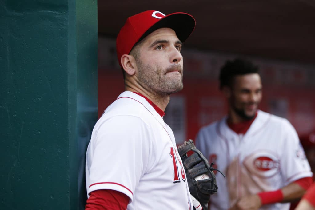 CINCINNATI, OH - AUGUST 07: Joey Votto #19 of the Cincinnati Reds looks on during a game against the San Diego Padres at Great American Ball Park on August 7, 2017 in Cincinnati, Ohio. The Reds defeated the Padres 11-3. (Photo by Joe Robbins/Getty Images)