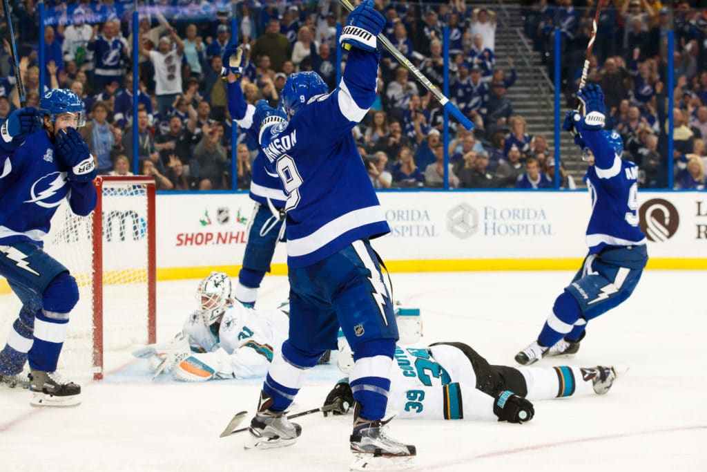 Sharks' winning streak ends with loss to Tampa Bay