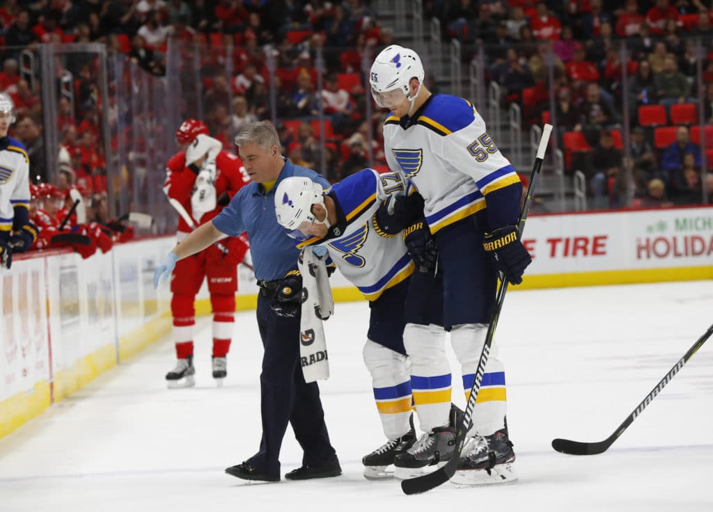 Blues plays forward Jaden Schwartz on injured reserve