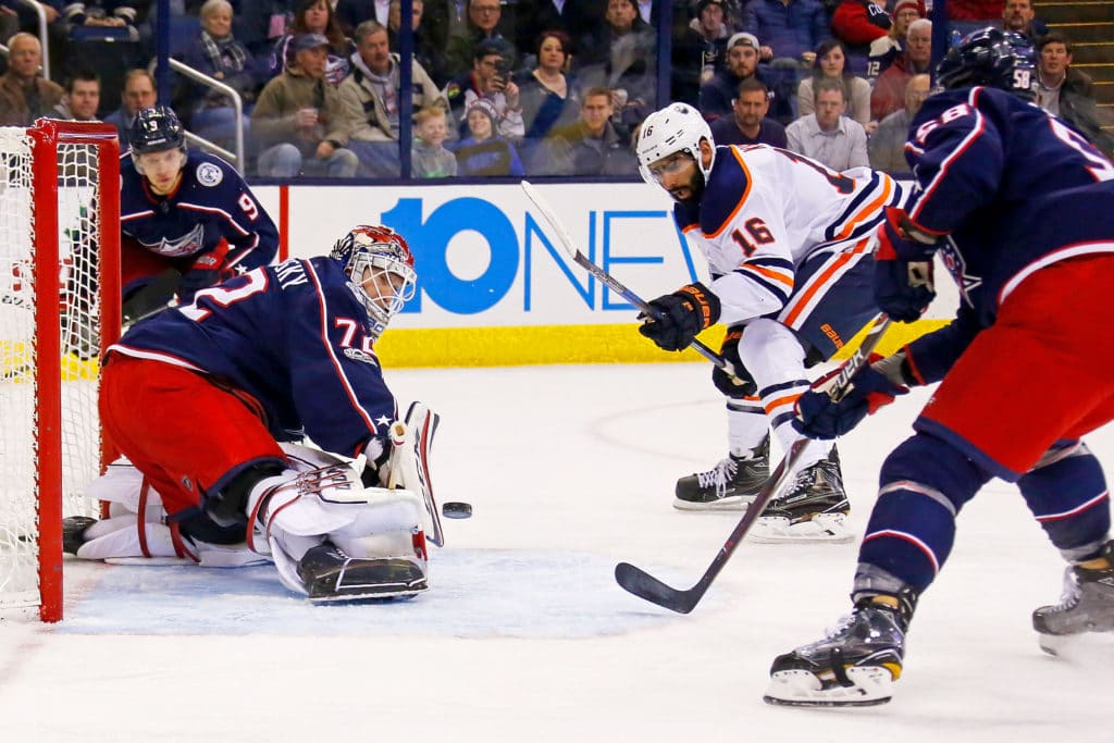 COLUMBUS, OH - DECEMBER 12:  Sergei Bobrovsky #72 of the Columbus Blue Jackets stops a shot from Jujhar Khaira #16 of the Edmonton Oilers during the first period on December 12, 2017 at Nationwide Arena in Columbus, Ohio. (Photo by Kirk Irwin/Getty Images)