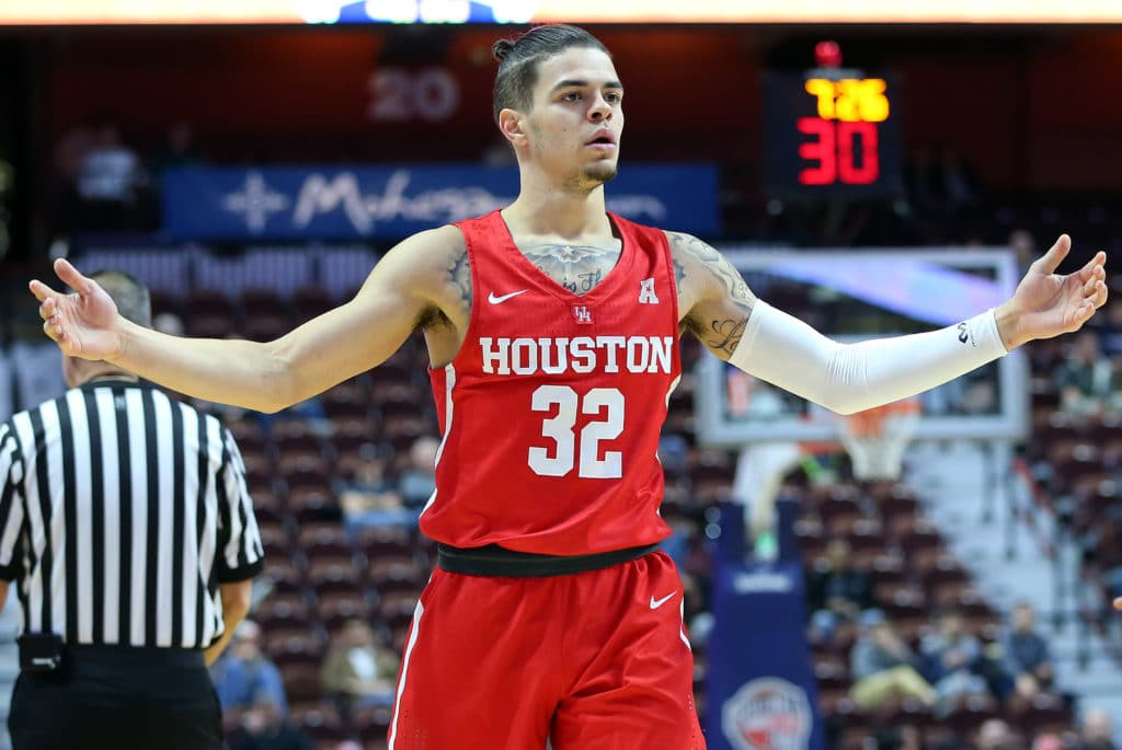 UNCASVILLE, CT - DECEMBER 20: Houston Cougars guard Rob Gray (32) reacts during a college basketball game between Houston Cougars and Providence Friars on December 20, 2017, at Mohegan Sun Arena in Uncasville, CT. Houston defeated Providence 70-59. (Photo by M. Anthony Nesmith/Icon Sportswire via Getty Images)