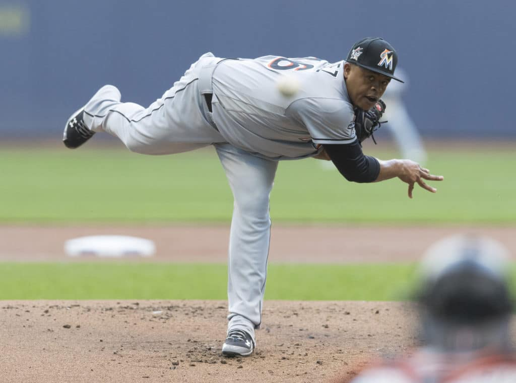 Jun 30, 2017; Milwaukee, WI, USA; Miami Marlins pitcher Edinson Volquez (36) throws a pitch during the first inning against the Milwaukee Brewers at Miller Park. Mandatory Credit: Jeff Hanisch-USA TODAY Sports