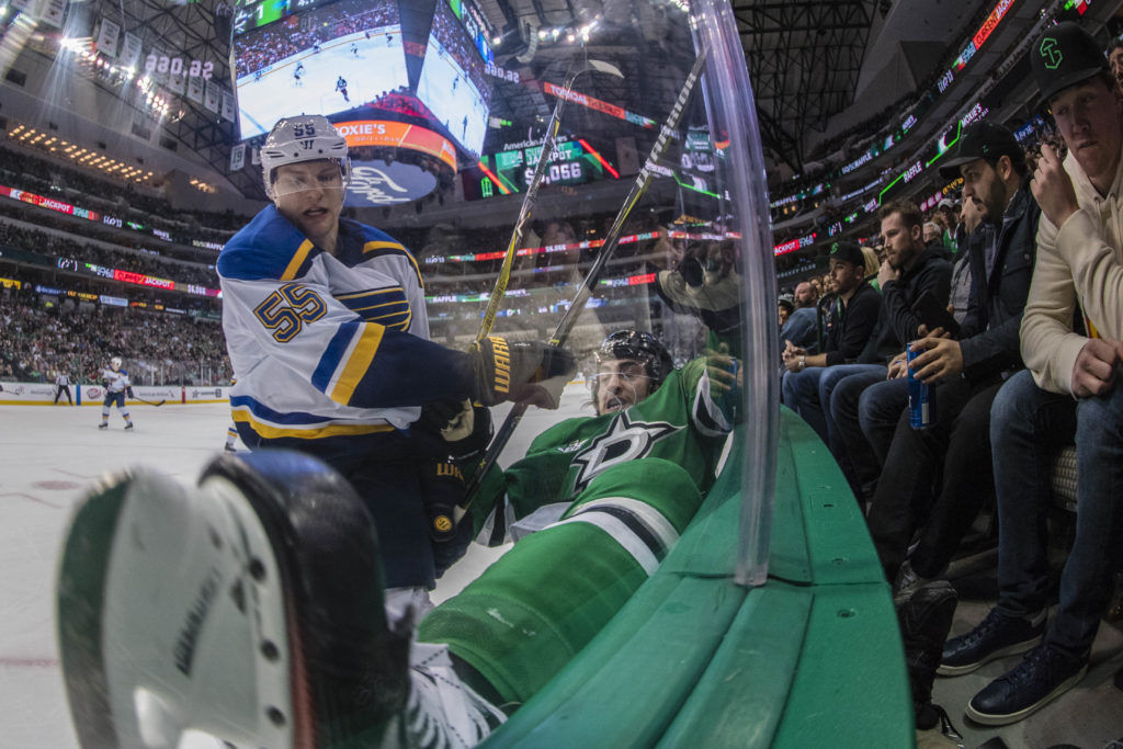 Feb 16, 2018; Dallas, TX, USA; St. Louis Blues defenseman Colton Parayko (55) checks Dallas Stars left wing Remi Elie (40) during the second period at the American Airlines Center. Mandatory Credit: Jerome Miron-USA TODAY Sports