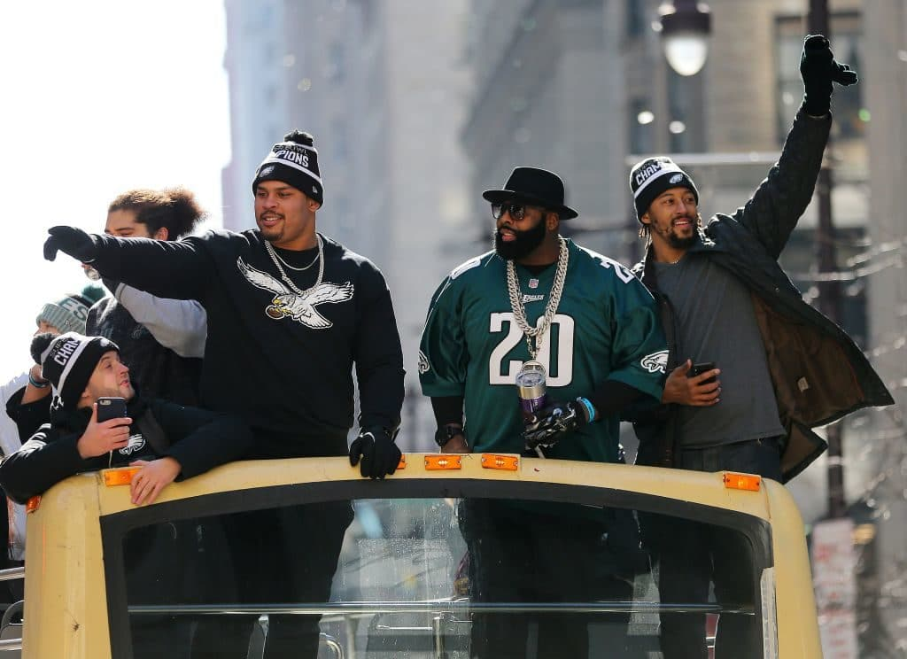 PHILADELPHIA, PA - FEBRUARY 08: (L-R) Brandon Brooks #79, Jason Peters #71, and Will Beatty #66 celebrate during the Super Bowl LII parade on February 8, 2018 in Philadelphia, Pennsylvania. (Photo by Rich Schultz/Getty Images)