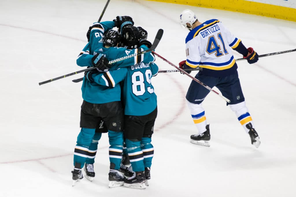 Mar 8, 2018; San Jose, CA, USA; San Jose Sharks left wing Mikkel Boedker (89) celebrates with right wing Joonas Donskoi (27) and right wing Joel Ward and right wing Timo Meier (28) and center Tomas Hertl (48) after scoring a power play goal against the St. Louis Blues in the third period at SAP Center at San Jose. Mandatory Credit: John Hefti-USA TODAY Sports
