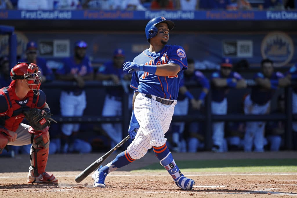 PORT ST. LUCIE, FL - FEBRUARY 24: Dominic Smith #22 of the New York Mets bats during a Grapefruit League spring training game against the St. Louis Cardinals at First Data Field on February 24, 2018 in Port St. Lucie, Florida. The Cardinals won 10-5. (Photo by Joe Robbins/Getty Images)