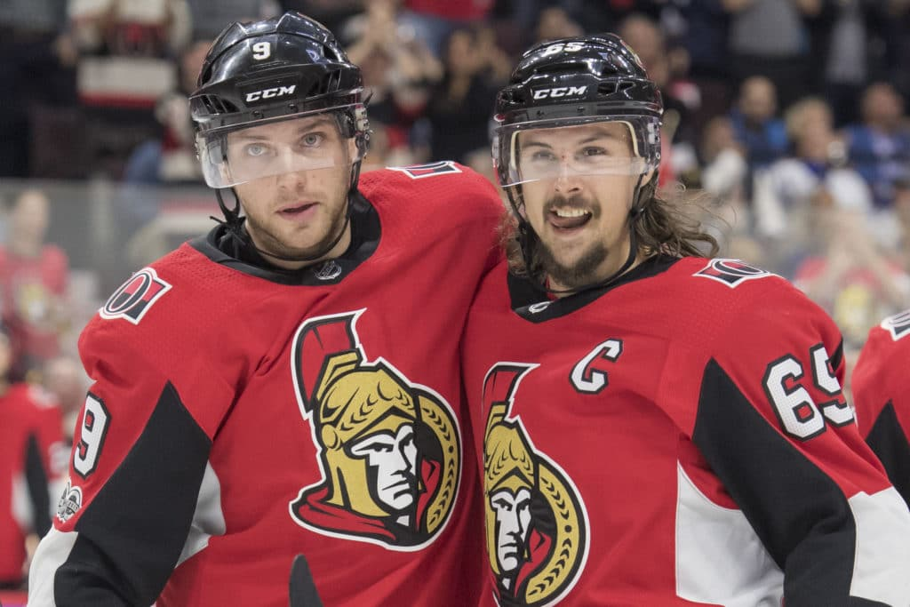 Oct 21, 2017; Ottawa, Ontario, CAN; Ottawa Senators right wing Bobby Ryan (9) and defenseman Erik Karlsson (65) celebrate a goal scored in the second period against the Toronto Maple Leafs  at Canadian Tire Centre. Mandatory Credit: Marc DesRosiers-USA TODAY Sports