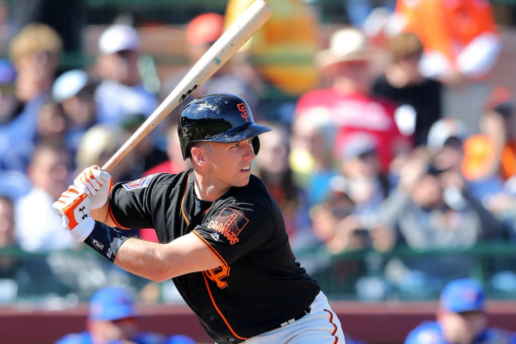 SCOTTSDALE, AZ - FEBRUARY 25: Buster Posey #28 of the San Francisco Giants bats dugout during a game against the Chicago Cubs on Sunday, February 25, 2018 at Scottsdale Stadium in Scottsdale, Arizona.  (Photo by Alex Trautwig/MLB Photos via Getty Images)