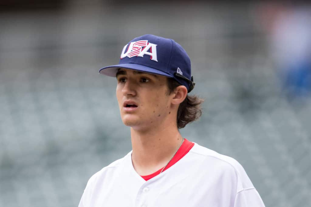 MINNEAPOLIS, MN- AUGUST 27: Ethan Hankins #31 of the USA Baseball 18U National Team against Iowa Western CC on August 27, 2017 at Target Field in Minneapolis, Minnesota. (Photo by Brace Hemmelgarn/Getty Images)