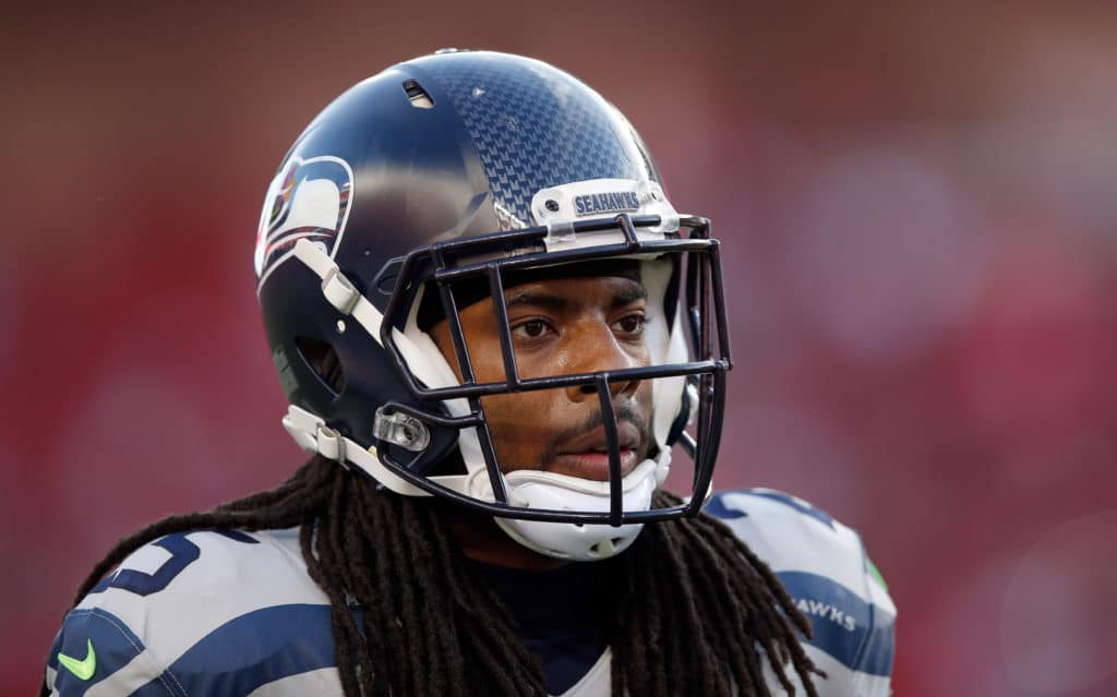 SANTA CLARA, CA - OCTOBER 22:  Richard Sherman #25 of the Seattle Seahawks stands on the field before their game against the San Francisco 49ers at Levi's Stadium on October 22, 2015 in Santa Clara, California.  (Photo by Ezra Shaw/Getty Images)