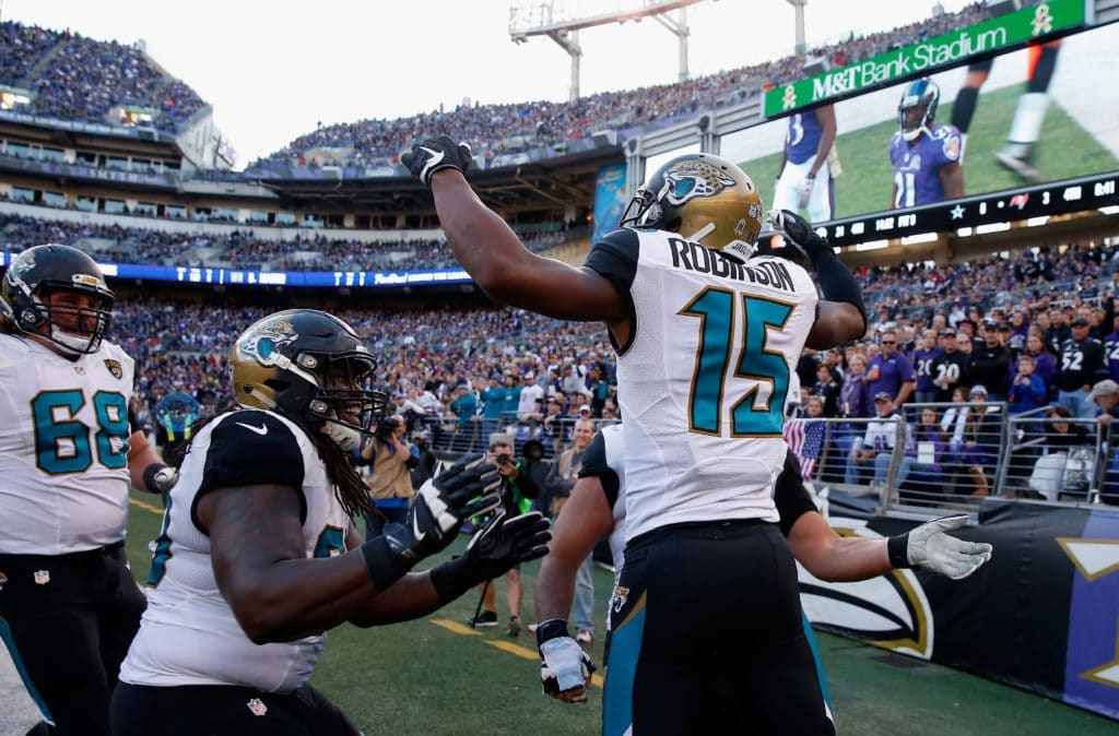 BALTIMORE, MD - NOVEMBER 15:  Allen Robinson #15 of the Jacksonville Jaguars celebrates after catching a second half touchdown pass against the Baltimore Ravens at M&T Bank Stadium on November 15, 2015 in Baltimore, Maryland.  (Photo by Rob Carr/Getty Images)