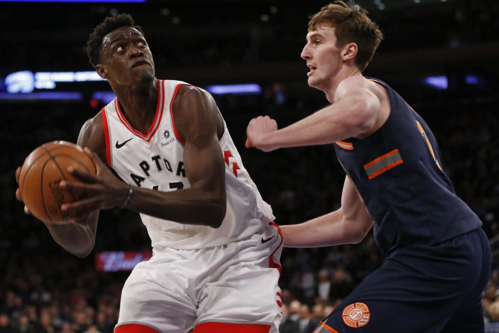 Mar 11, 2018; New York, NY, USA; Toronto Raptors forward Pascal Siakam (43) looks to shoot over New York Knicks forward Luke Kornet (2) during the first half at Madison Square Garden. Mandatory Credit: Adam Hunger-USA TODAY Sports