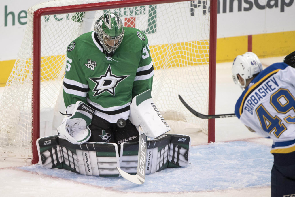 Sep 19, 2017; Dallas, TX, USA; Dallas Stars goalie Mike McKenna (35) stops a shot by St. Louis Blues center Ivan Barbashev (49) during the third period at the American Airlines Center. The Stars defeat the Blues 5-3. Mandatory Credit: Jerome Miron-USA TODAY Sports