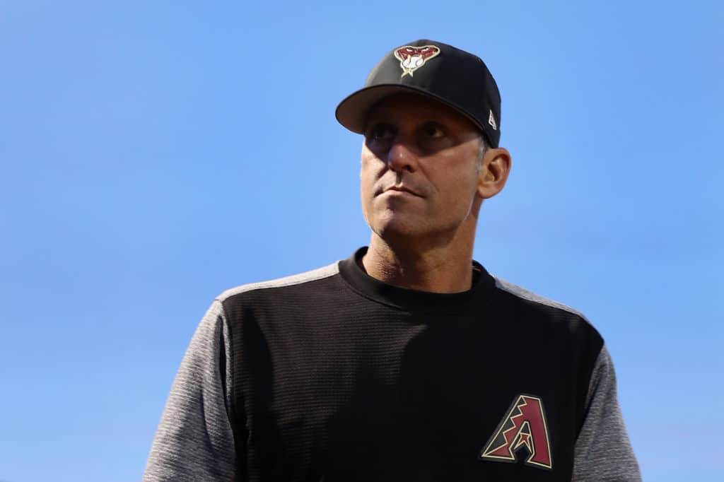 PEORIA, AZ - MARCH 05:  Manager Torey Lovullo #17 of the Arizona Diamondbacks before the spring training game against the San Diego Padres at Peoria Stadium on March 5, 2018 in Peoria, Arizona.  (Photo by Christian Petersen/Getty Images)