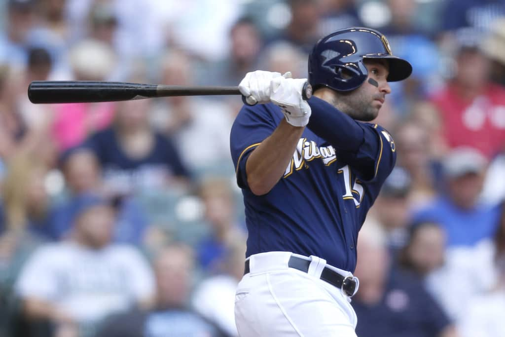 MILWAUKEE, WI - SEPTEMBER 03: Neil Walker #15 of the Milwaukee Brewers hits a double during the sixth inning against the Washington Nationals at Miller Park on September 03, 2017 in Milwaukee, Wisconsin. (Photo by Mike McGinnis/Getty Images)