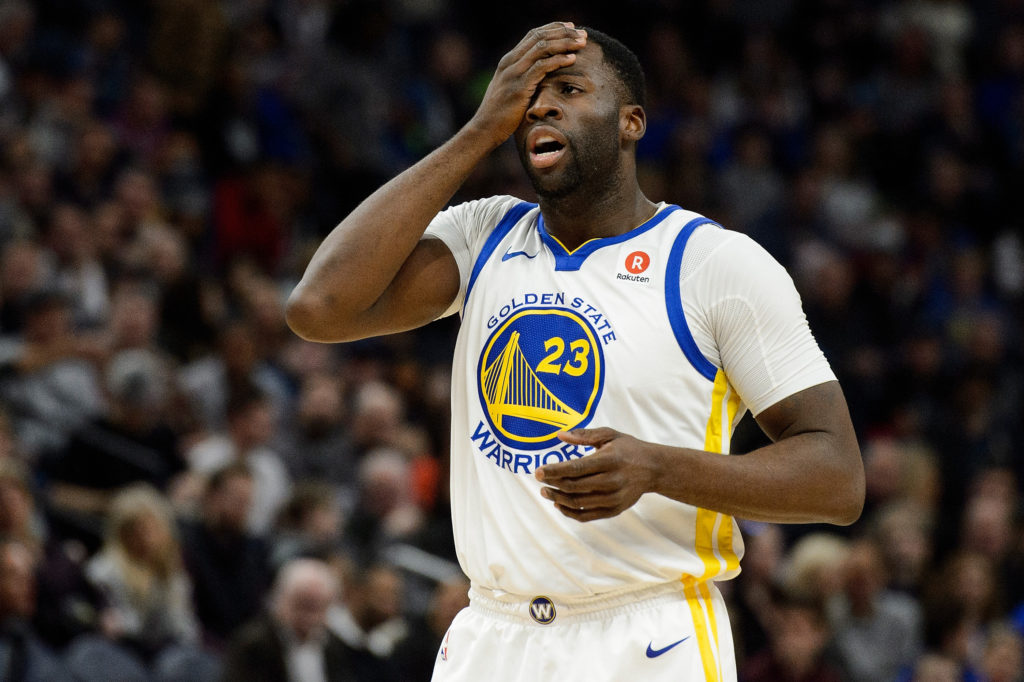 MINNEAPOLIS, MN - MARCH 11: Draymond Green #23 of the Golden State Warriors looks on during the game against the Minnesota Timberwolves on March 11, 2018 at the Target Center in Minneapolis, Minnesota. NOTE TO USER: User expressly acknowledges and agrees that, by downloading and or using this Photograph, user is consenting to the terms and conditions of the Getty Images License Agreement. (Photo by Hannah Foslien/Getty Images)