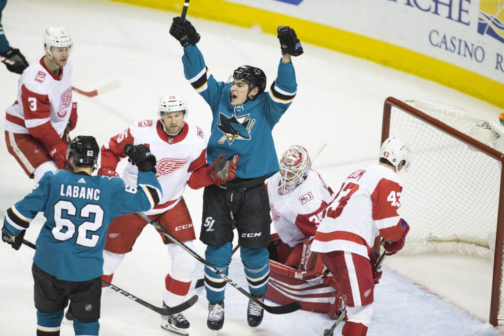 Mar 12, 2018; San Jose, CA, USA; San Jose Sharks right wing Timo Meier (28) celebrates after scoring a goal against Detroit Red Wings goalie Jimmy Howard (35) during the third period at SAP Center at San Jose. Mandatory Credit: Neville E. Guard-USA TODAY Sports