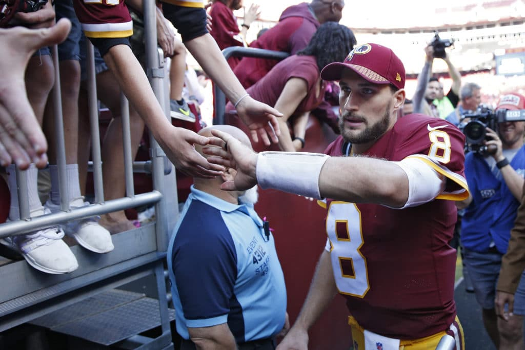 LANDOVER, MD - OCTOBER 15: Kirk Cousins #8 of the Washington Redskins celebrates with fans after a game against the San Francisco 49ers at FedEx Field on October 15, 2017 in Landover, Maryland. The Redskins won 26-24. (Photo by Joe Robbins/Getty Images)
