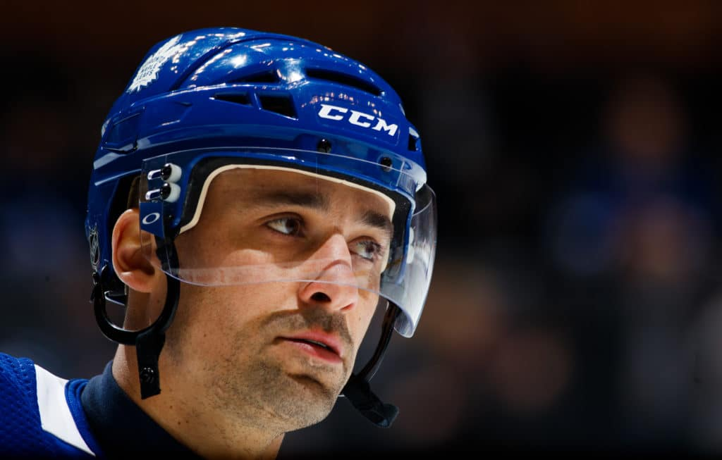 TORONTO, ON - MARCH 10: Tomas Plekanec #19 of the Toronto Maple Leafs takes part in warm up before facing the Pittsburgh Penguins at the Air Canada Centre on March 10, 2018 in Toronto, Ontario, Canada. (Photo by Mark Blinch/NHLI via Getty Images)