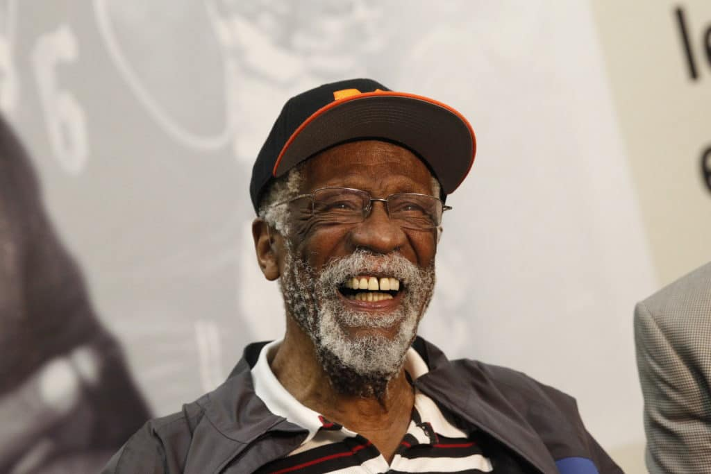 OAKLAND, CA - MARCH 26: Hall of Fame basketball player Bill Russell during an unveiling ceremony on March 26, 2013 at McClymonds High School in Oakland, California. NOTE TO USER: User expressly acknowledges and agrees that, by downloading and or using this photograph, user is consenting to the terms and conditions of Getty Images License Agreement. Mandatory Copyright Notice: Copyright 2013 NBAE (Photo by Rocky Widner/NBAE via Getty Images)
