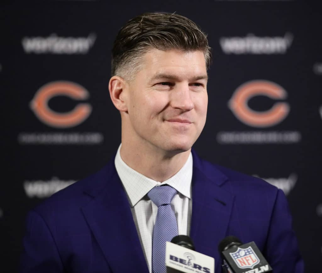 LAKE FOREST, IL - JANUARY 09:  General manager Ryan Pace of the Chicago Bears speaks to the media during an introductory press conference for new head coach Matt Nagy at Halas Hall on January 9, 2018 in Lake Forest, Illinois.  (Photo by Jonathan Daniel/Getty Images)